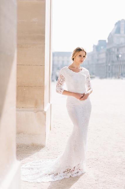 2017 Vintage Lace Mermaid Modest Wedding Dresses With 3/4 Sleeves ...