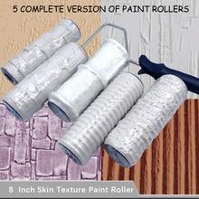 5pcs Pattern Paint Roller Polyurethane Tool Environmental Protection Stamp Decorative Cylinder Imitate Stone Rock Wood