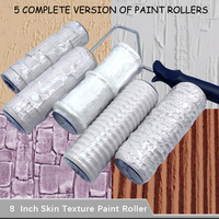 5pcs Pattern Paint Roller Polyurethane Tool Environmental Protection Stamp Roller Decorative Cylinder Imitate Stone Rock Wood