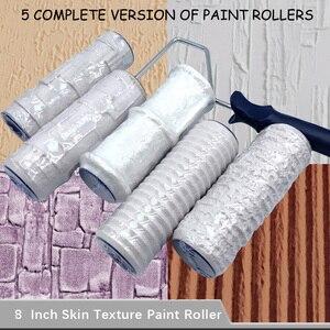 Rodillo de pintura con patrón de 5 uds, herramienta de poliuretano, rodillo de sello de Protección Ambiental, cilindro decorativo, piedra de imitación, madera de roca