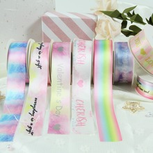 10yard 25 38mm Printed Rainbow Color Satin Ribbon Tape Wedding Party Decoration Gift Wrapping Chrismas