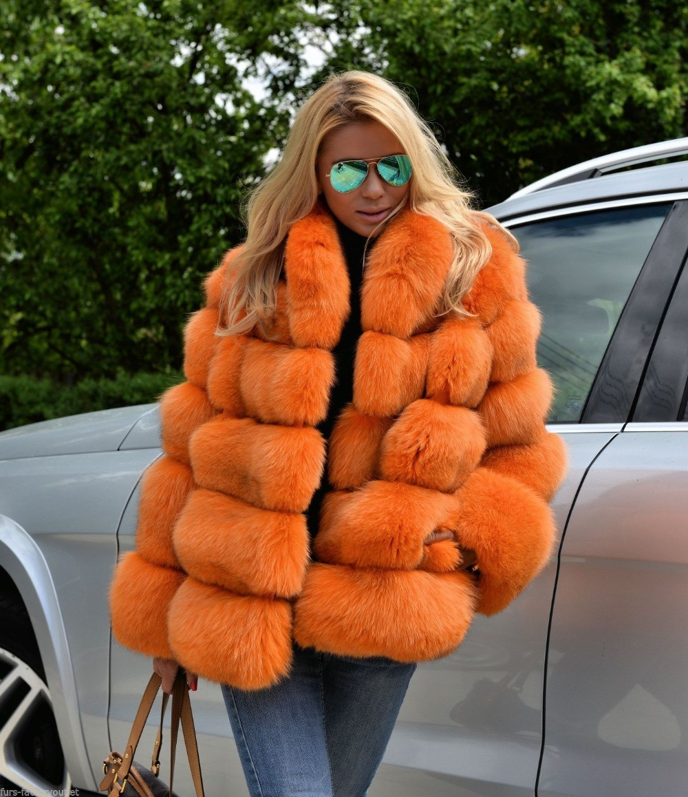 Furealux Luxury Warm Natural Fox Fur Coat With Hood Real Thick Fur Jackets Lady Winter Fashion Fur Coats And Jackets Hot Sale