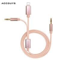 ACCGUYS Dla iPhone 7/7 Plus Aux Kabel 2 w 1 8 Pin + podwójny 3.5mm Samochodów Aux Kabel Audio Adapter do iphone Xiaomi Letv Samsung Moto