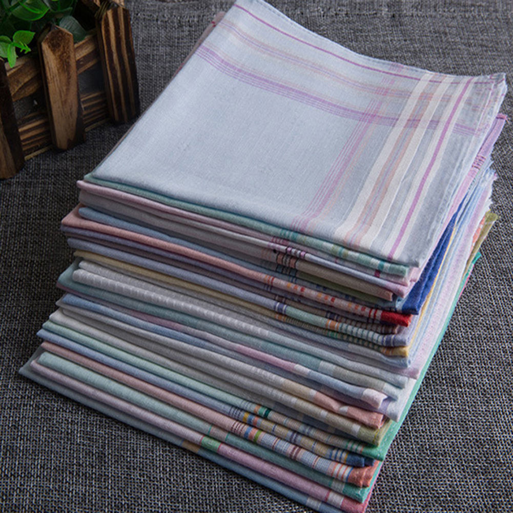 Sell European Style 3pcs Fine Handkerchief Pure Cotton Men's Pocket Square Hankies Plaid Daily Hankerchief Free Fast Shipping