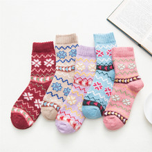 New product release winter womens thick warm flowers cute fresh Harajuku fashion wool socks 5 pairs