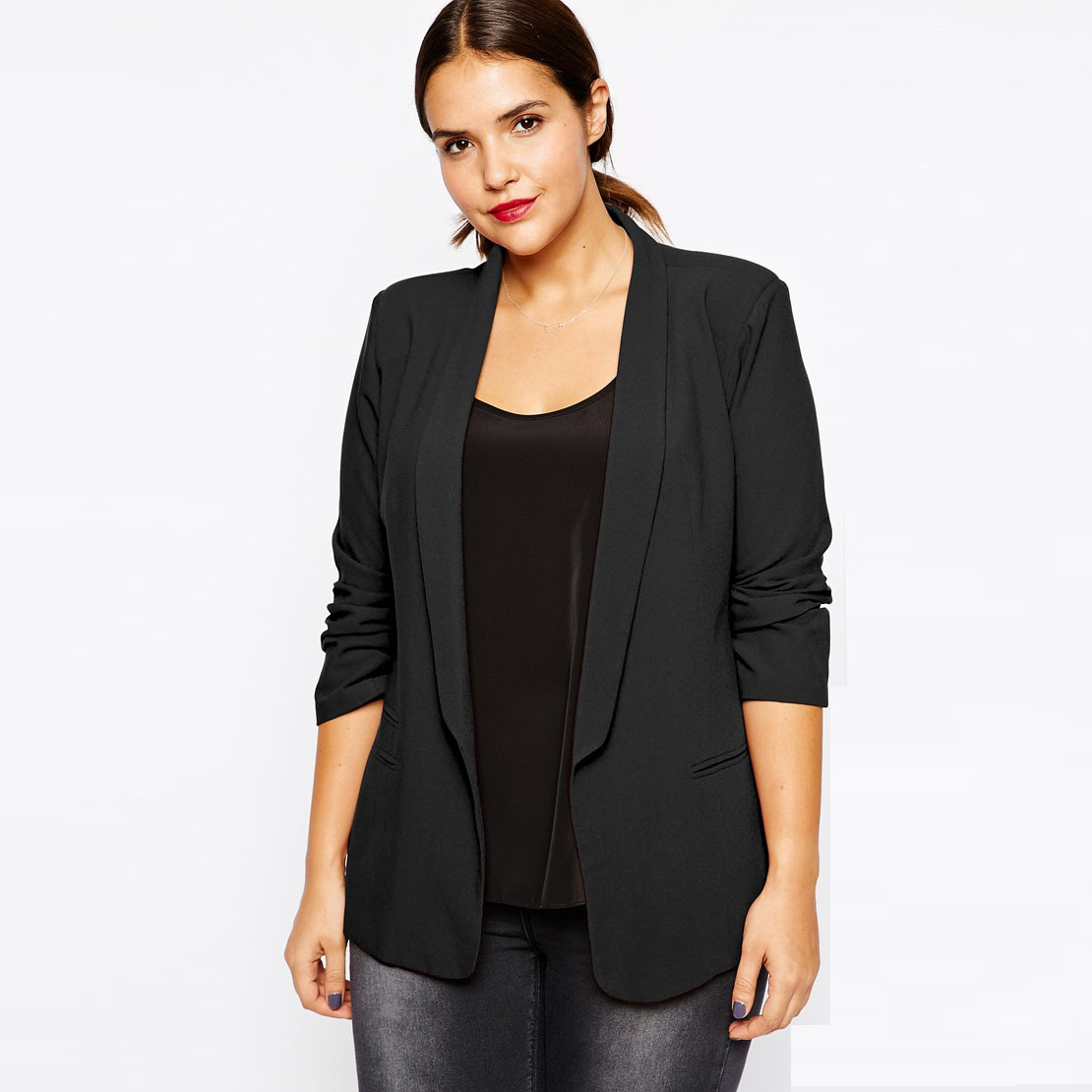 Plus Size Women Clothing Black Blazer in Crepe with Slim Lapel Office Women  Blazers And Jackets Basic Workwear 4XL 5XL 6XL 7XL-in Blazers from Women s  ... 862c720cd56f