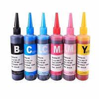 6x100 ml recarga de la impresora de calidad para reemplazar el kit de botellas de tinta Epson Brother HP
