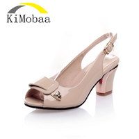 Kimobaa Sandals 2017 Genuiene Patent Leather In Nude Color High Heels Sandals Women Open Toe 30
