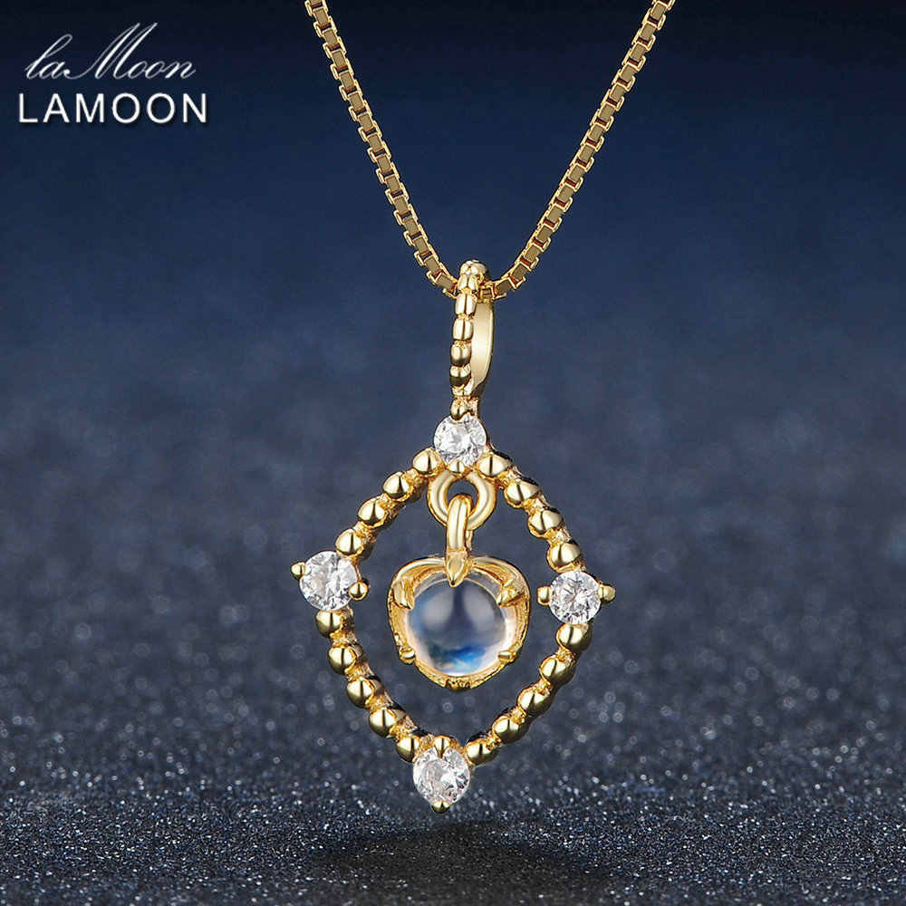 Lamoon 4mm Natural Ligth Blue Moonstone 925 Sterling Silver Chain Pendant Necklace Jewelry  S925 LMNI036