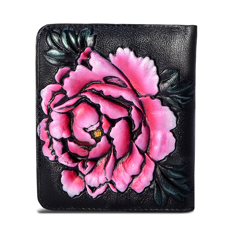 1Q FG10 B New Fashion Mini Wallet Women Short Leather Wallet Painted Flowers Zero Pocket Card Bag Women Wallet