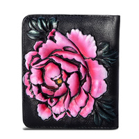 1Q FG10 B New Fashion Mini Wallet Women Short Leather Wallet Painted Flowers Zero Pocket Card Bag Women Wallet