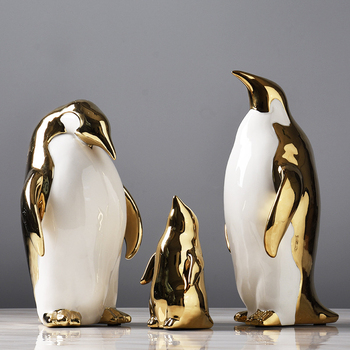 New Nordic style Golden Ceramics Penguin Crafts Decoration Creative Parlor Desktop Home Bedroom Decoration Animal statue Gifts