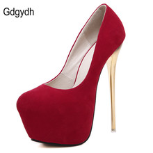 Gdgydh Hot Sale 2017 New Spring Round Toe Platform Women Pumps Sexy Casual Female Stiletto Shoes Wedding Party Shoes 16cm