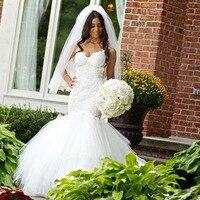 Vestido de noiva 2016 новинка на заказ Спагетти ремни безрукавое свадебное платье с открытой спиной Белые Свадебные платья Русалка Свадебные платья
