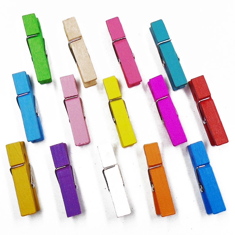 ZIEENE Mixed 15PCs 30PCs 14 Colors Dyed Kids Wooden Clips 35x10mm Handmade Crafts Sewing Scrapbooking For DIY Wood Clothes Pegs