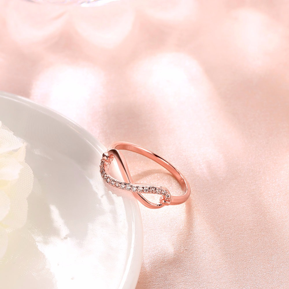 8 Shaped Knot rose Gold Plated Top Grade Tiny Top Grade CZ simulated ...