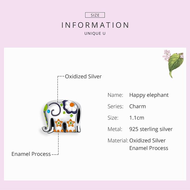HTB1faRYXbj1gK0jSZFuq6ArHpXaa WOSTU Colorful Happy Elephant Beads Genuine 925 Sterling Silver Charms Fit Original Bracelet Pendant Jewelry Gift CTC095