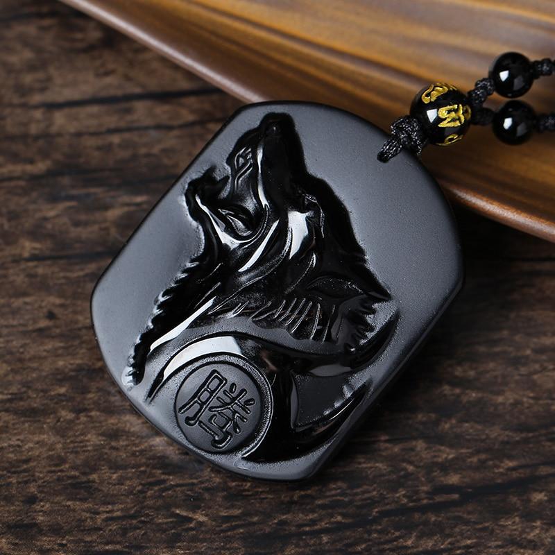 Drop Shipping Black Obsidian ойып-соғу Wolf Head Amulet - Жұқа әшекейлер - фото 4