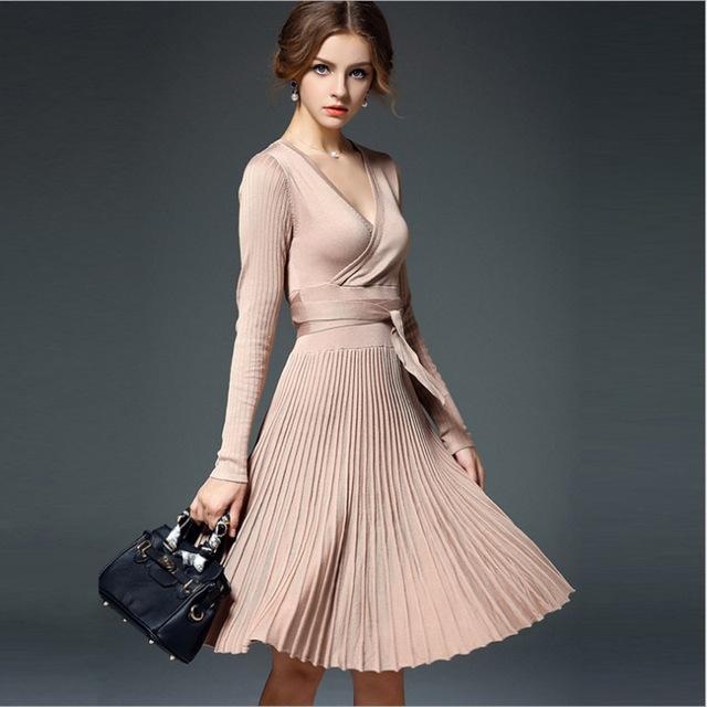 Casual Pleated Knee Length Knitting Sweater Dress