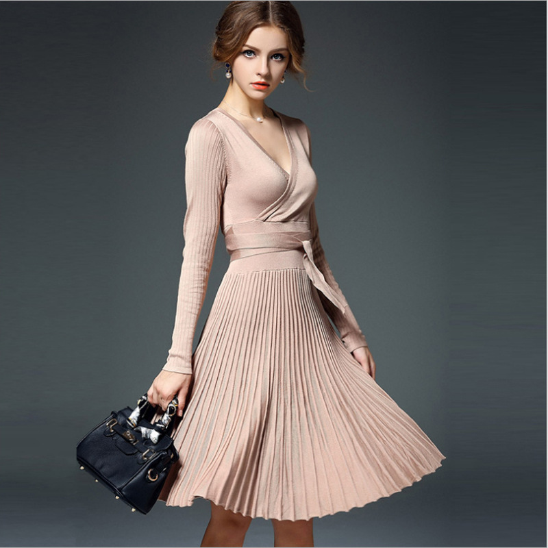 Spring Dresses 2016 High Quality New Fashion Women Dress Long Sleeve V Neck Casual Pleated Knee Length Knitting Sweater Dress