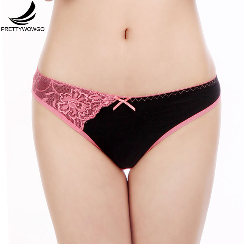 Prettywowgo Hot Sale Beiefs 2018 Patchwork Lace Women Cotton   Panties   6990