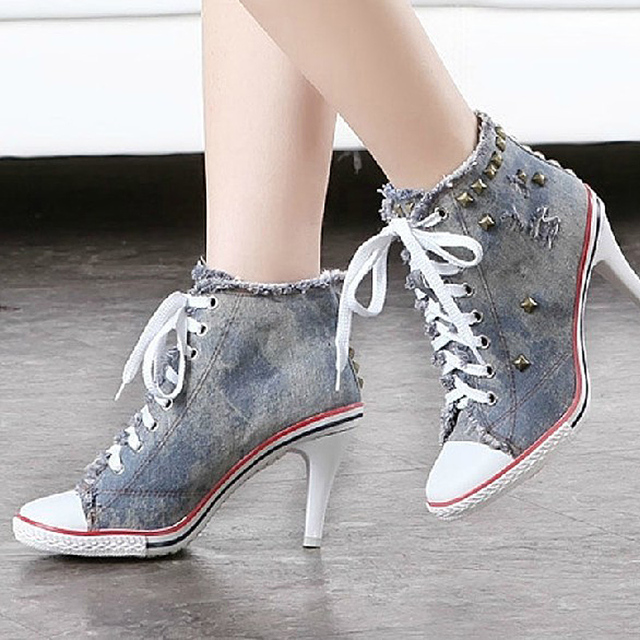 2016 GZ high heel shoes casual women New brand denim heels rivet woman Frayed martin ankle footwear sex fashion lace up OA3