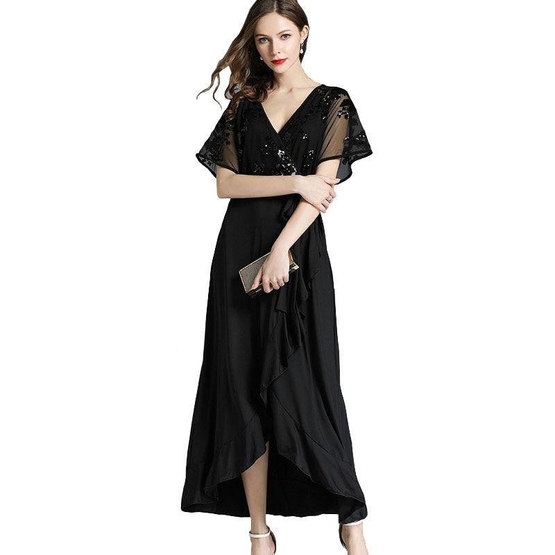 a3240c09bcf0f4 Summer 2018 Sequin Dress Women Solid Black V Neck Belted Irregular Long  Plus Size 3xl 4xl