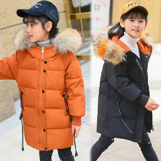 Girls Duck Down Jackets 2018 New Winter Children Clothing Thicken Warm Long Outerwear Kids Fur Collar Hooded Coats Girl Parka weixu fashion girls winter coat kids outerwear parka down jackets hooded fur collar outdoor warm long coats children clothing