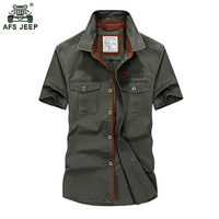 Afs جيب القميص الرجال 2017 جديد الصيف الرجال الصلبة الجيش العسكري قصيرة الأكمام قمصان القطن تنفس قميص فضفاض قميص 60wy