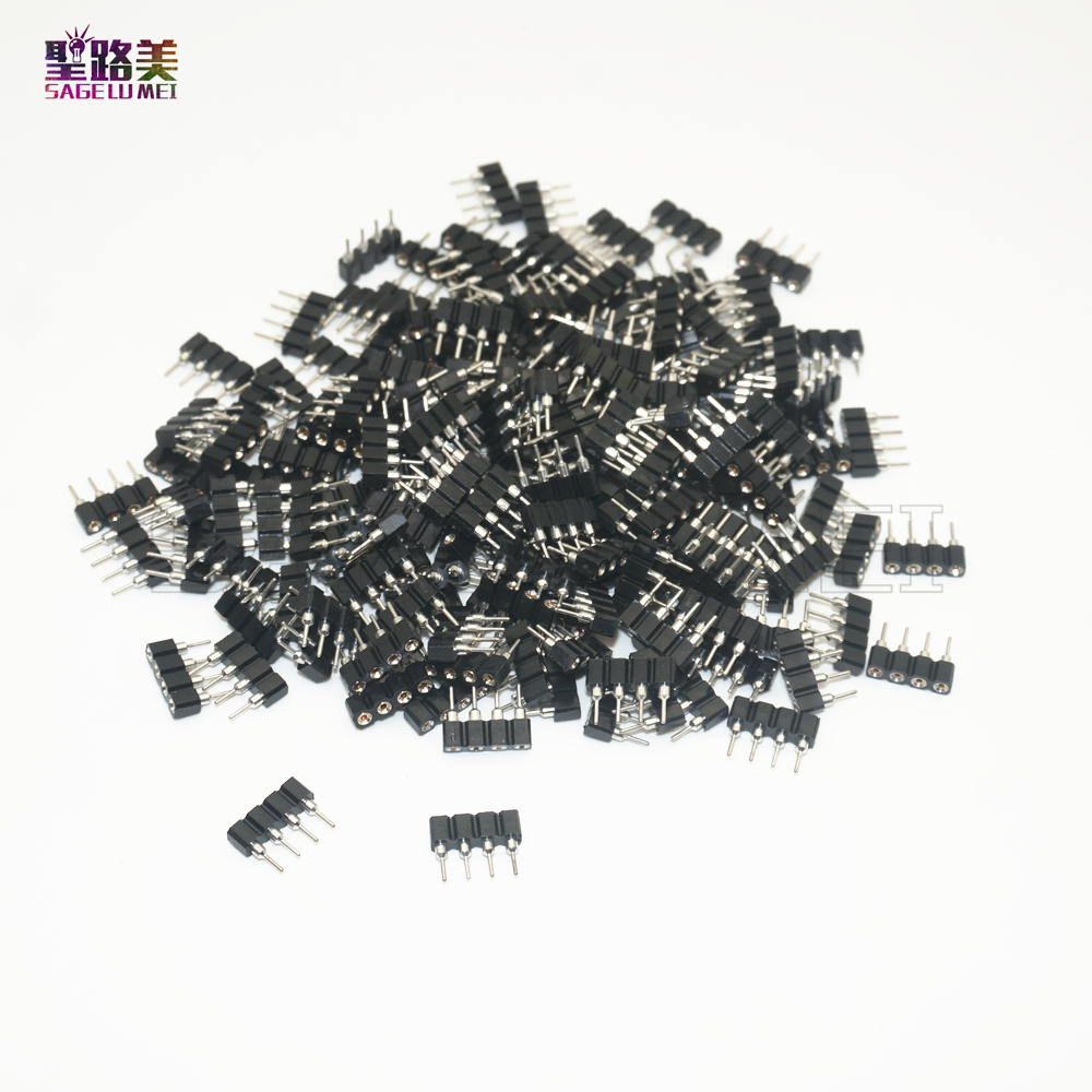 100pcs/200pcs/500pcs/1000pcs 4pin RGB connector 4 pin needle male to female type double 4pin DIY connect for 5050 RGB led strip ...