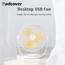 PADCOVER USB Fan 3 Speed Adjustable Mini Portable Fan 360 Degree Rotation Fan Rechargeable Built-in Battery 2000mAh Mute USB Fan цена и фото