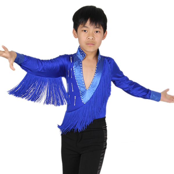 Good Quality Latin Dance for Boys Costume Long-Sleeved Shirts Boys Dance Performance Clothing Tassel Dancing Children Sets new girls latin dance performance clothing dance clothes suit costume quilted dress