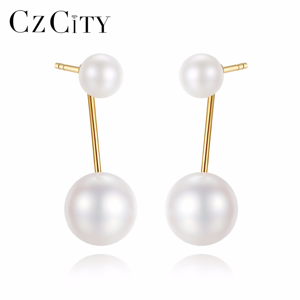 CZCITY 18K Gold Double Natural White Pearl Earrings 4-4.5mm/ 6.5-7mm Two Kind of Wearing Drop Earrings High Quality 18K Jewelry браслет на ногу other 18k