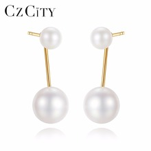 CZCITY 18K Gold Double Natural White Pearl Earrings 4-4.5mm/ 6.5-7mm Two Kind of Wearing Drop Earrings High Quality 18K Jewelry
