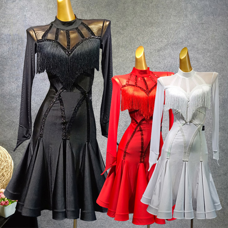 Black Latin Dance Dress For Women Vestido Flecos Tassels Flamengo Rumba/Tango/Salsa Dress Competitive Red Latin Dress VDB487