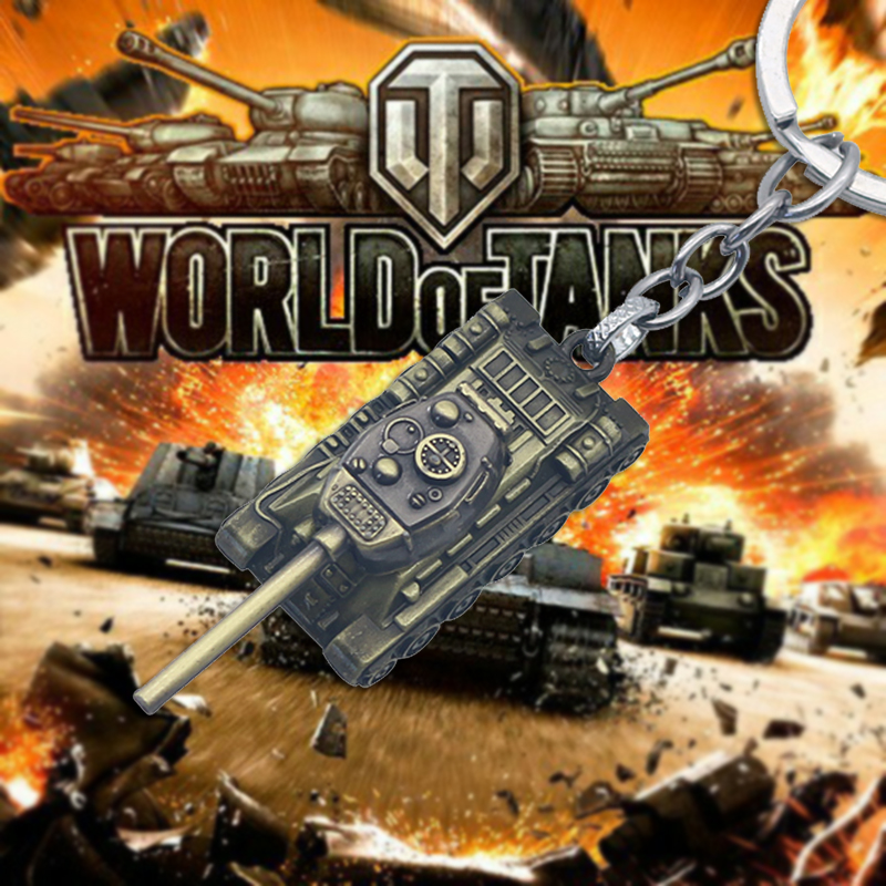 WOT World Tank Keychain Heavy Punk Weapon 3D Stereo Tank Pendant Keychain Men's Car Pendant Jewelry Free Shipping image