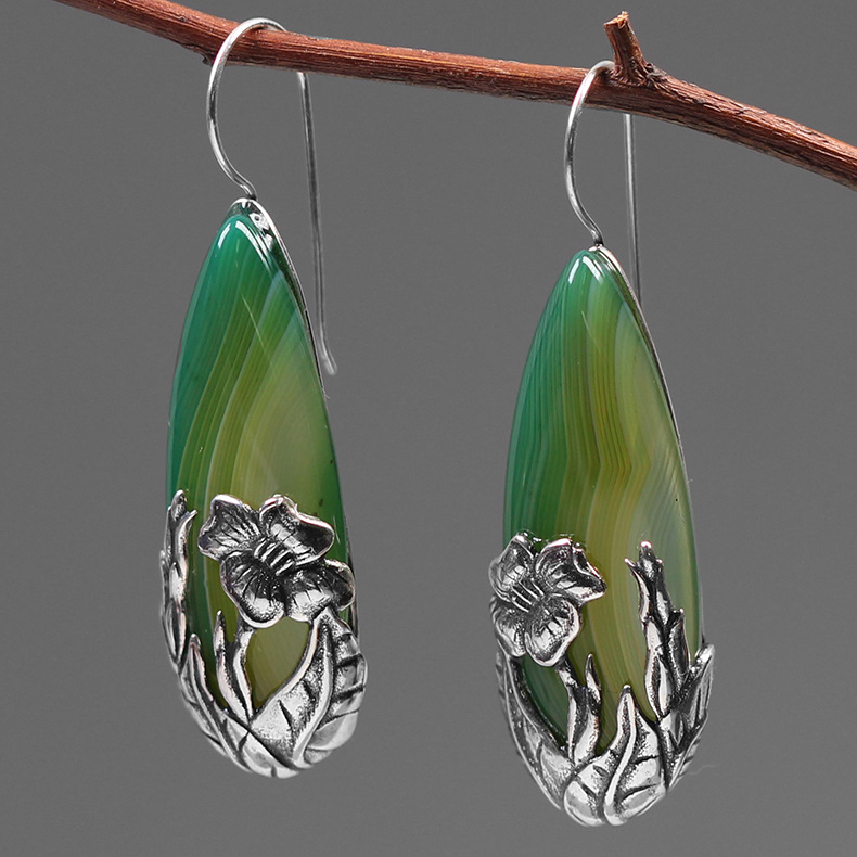 INATURE Natural Green Agate 925 Sterling Silver Banana Leaves Drop Earrings For Women Fine Jewelry
