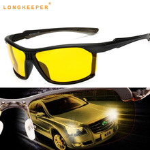 Long Keeper High Quality Yellow Night Vision For Male Driving Polarized Sunglasses Square Mens Driver Safety Eyewears