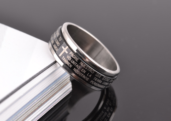 free shipping wholesale 316L Stainless Steel finger rings wedding bands Bible jewelry