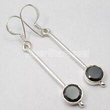 Chanti International Silver удивительные черный оникс городской стиль длинные Серьги 5 см Бестселлер