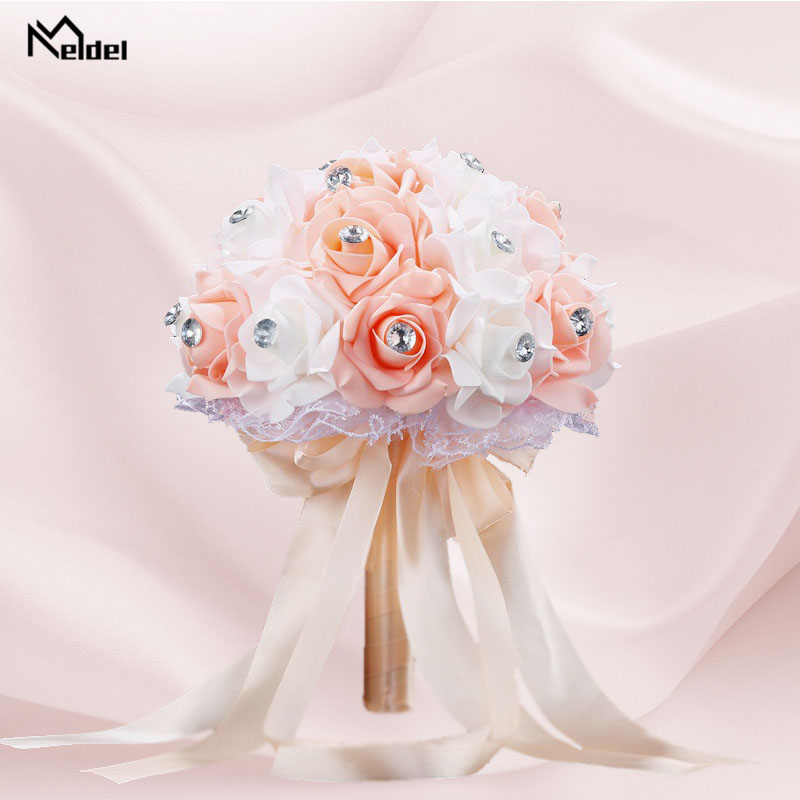 Meldel Bridal Wedding Bouquet Bridesmaid Holding Flower PE Rose Champagne Rhinestone Bouquet For Bride Marriage Wedding Supplies