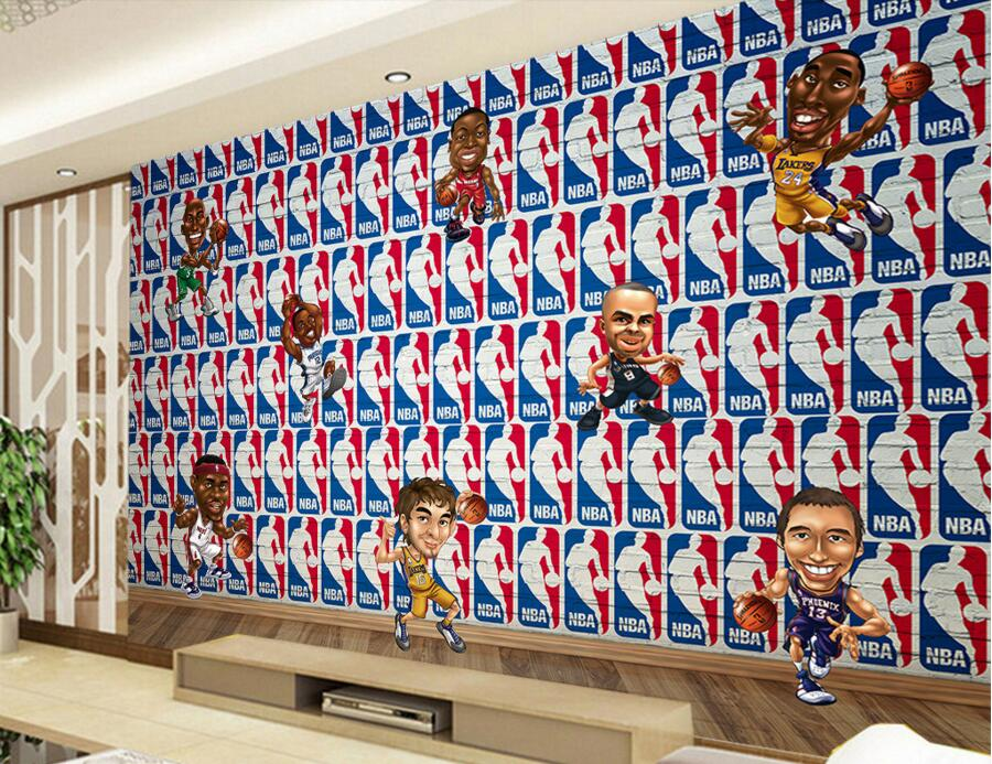 Custom 3D large murals,Basketball stars cartoon icon papel de parede,bar living room sofa TV wall children bedroom wallpaper custom 3d murals cartoon wolf papel de parede hotel restaurant coffee shop living room sofa tv wall children bedroom wallpaper