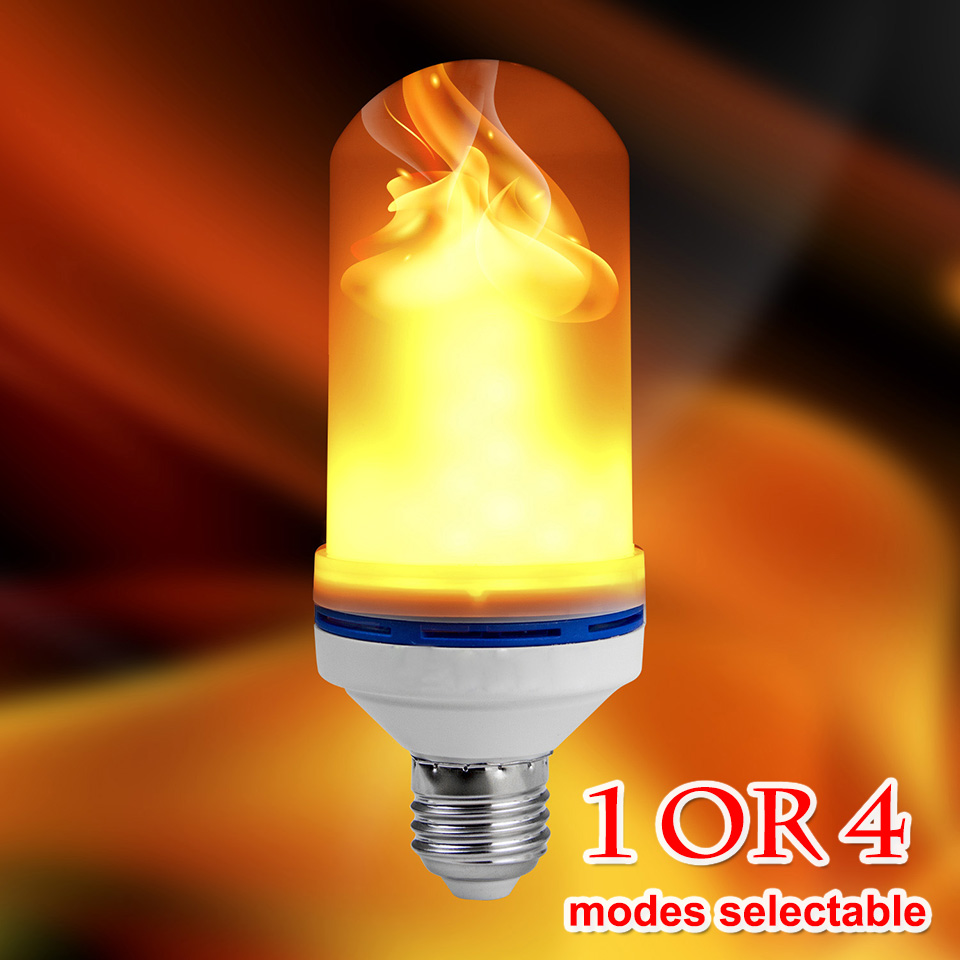 LED Flame Effect Fire Light Bulb E26 E27 SMD2835 Flickering Emulation 1/4 Modes LED Flame Holiday Lamp 1200K~1400K AC85V~265V dynamic flame flickering led night light fire burning flame lamp fire bulb holiday chirstmas decoration lights e27 e14 85v 265v