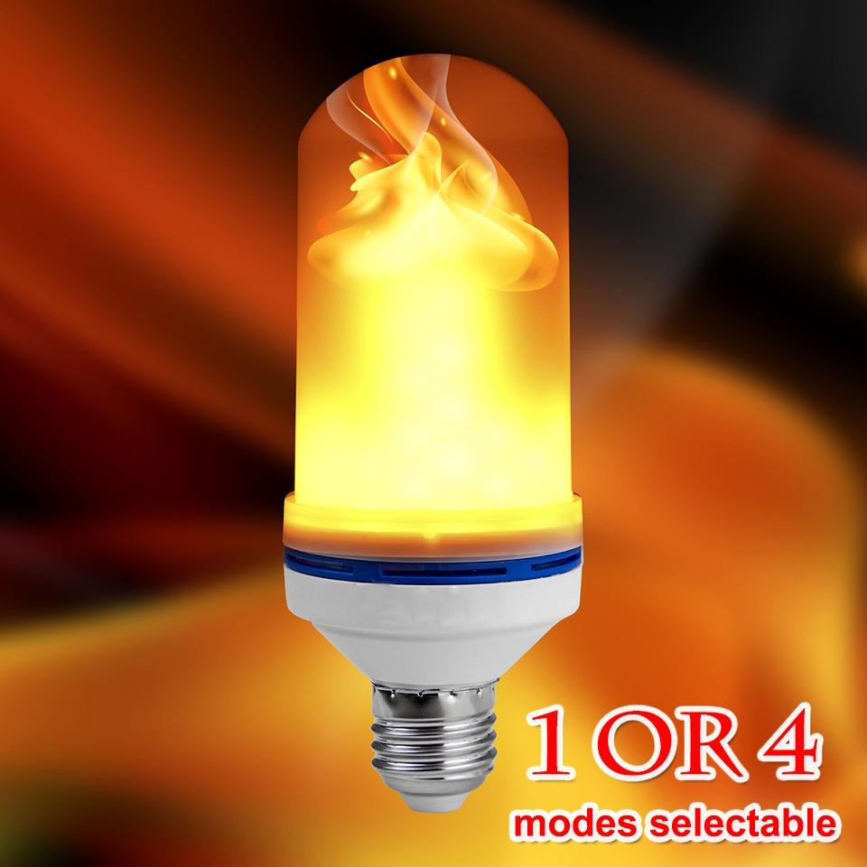 LED Flame Effect Fire Light Bulb E26 E27 SMD2835 Flickering Emulation 1/4 Modes LED Flame Holiday Lamp 1200K~1400K AC85V~265V