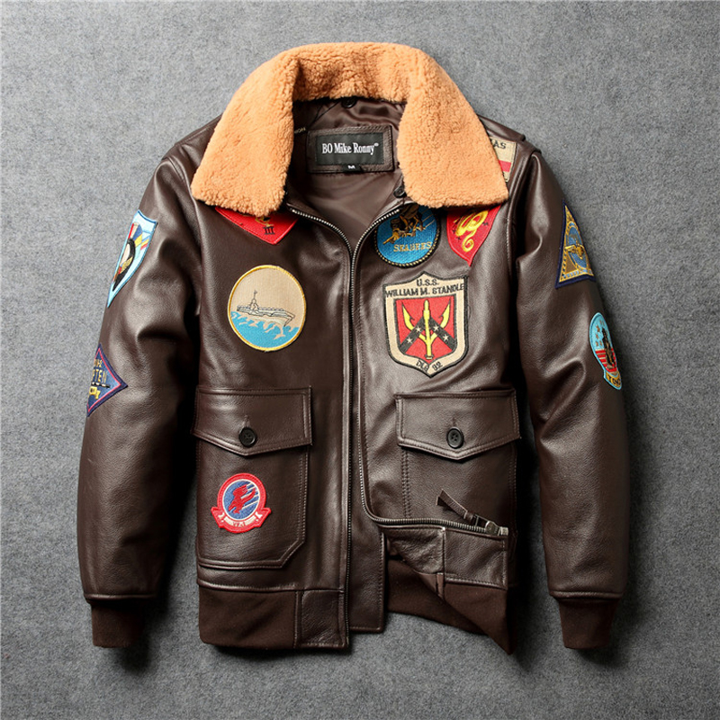 Dark Brown G1 Pilot Leather Jacket Flight Leather Jacket Plus Size Cow skin Man Genuine Leather Jackets Turn Down Collar