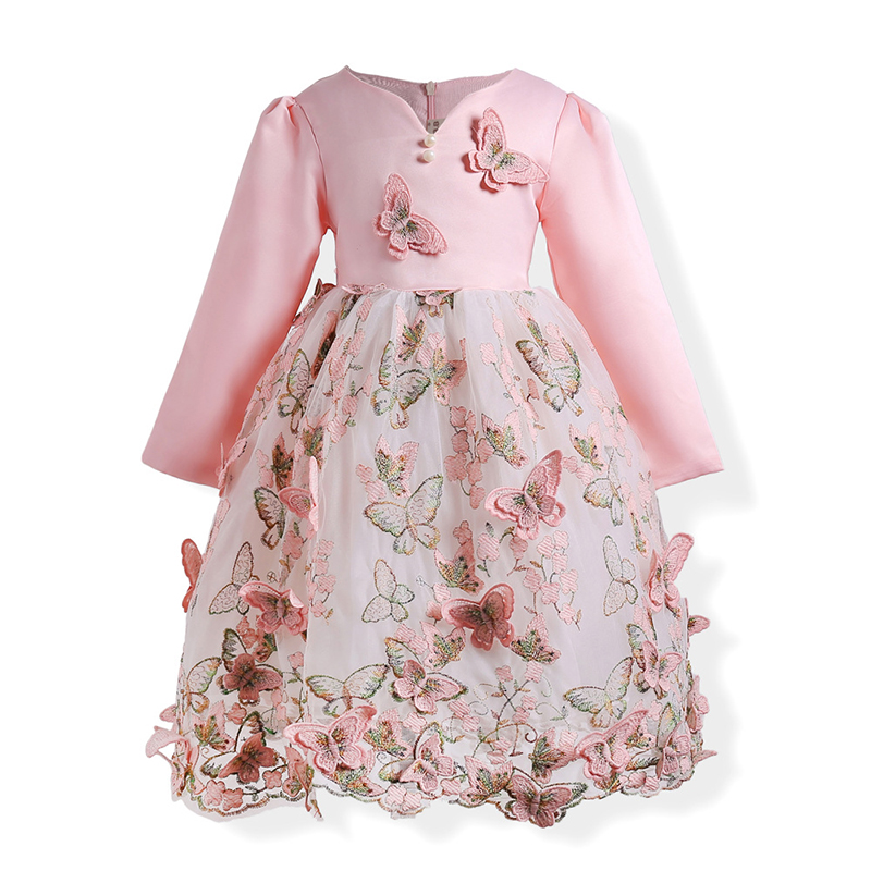 Autumn Floral Girls Dress Baby Lace Mesh Dresses Children Long Sleeve Butterfly Embroidery Princess Vestido Party Clothes 3-10y
