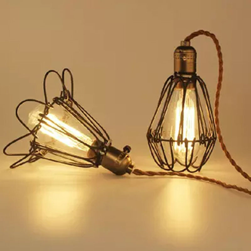Industrial lighting E27 lampshade, bulb cage, vintage cage lights ...