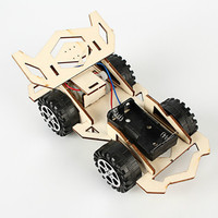 DIY Mini Wooden Electronic Power Vehicle Car Model Kit 4WD Handmade Scientific Experiments Education Toy for Kids