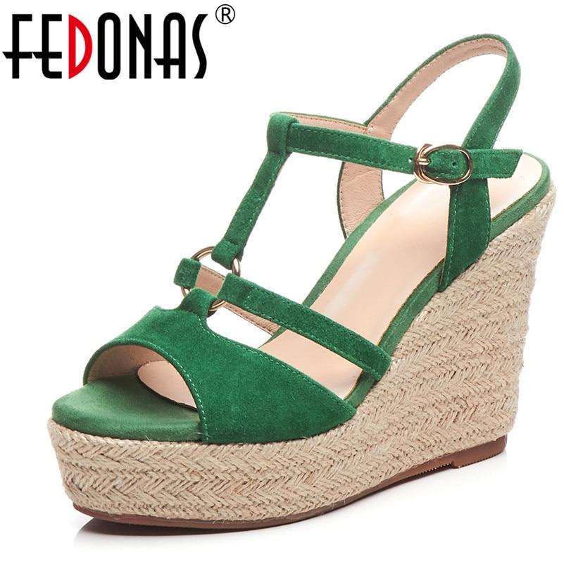 FEDONAS Casual Wedges Sandasl For Women Classic Design Casual Sandals Platforms Heels Vintage Buckle Strap Summer