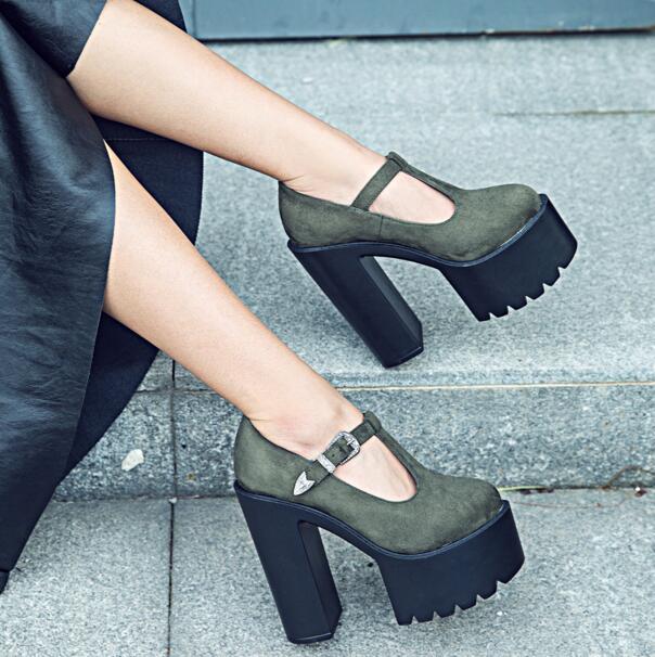 ФОТО MANMITU 1-Free Shipping 2017 NEW HOT Vogue Adult Flock Single Shoes Women High Heels Buckle Fashion Pumps Thick Heel Bottom 15cm
